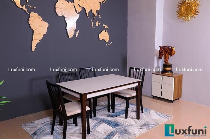 Tổng hợp 5 bộ bàn ăn gỗ mặt kính đẹp giá siêu hời-1