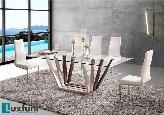 Tổng hợp 5 bộ bàn ăn gỗ mặt kính đẹp giá siêu hời-3