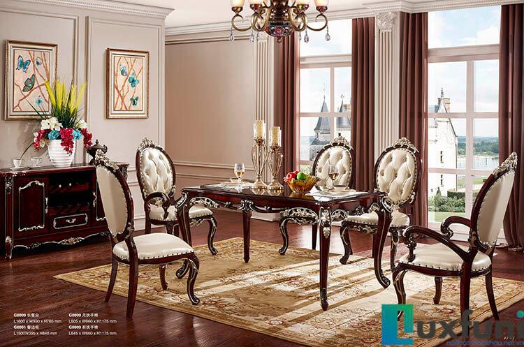 Mẫu bàn ghế ăn tân cổ điển G8809X mang đậm phong cách Châu Âu
