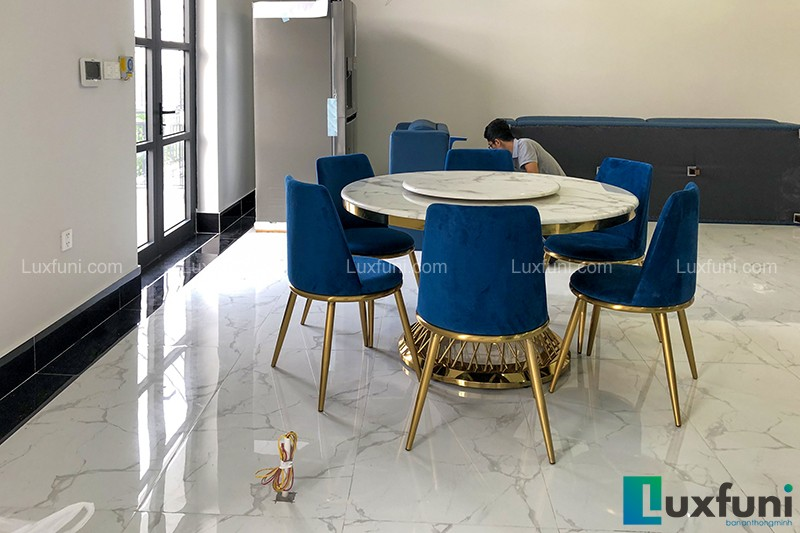 Bộ bàn ăn tròn 6 ghế AG86