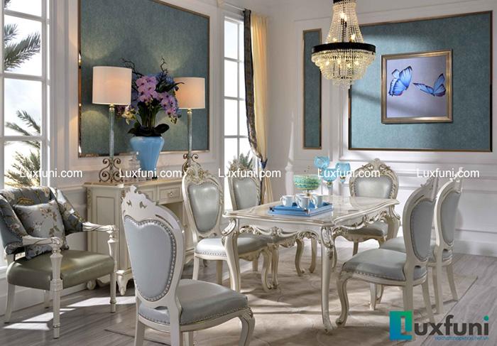 Bàn ghế ăn mang phong cách tân cổ điển cao cấp nhập khẩu DNA D6001