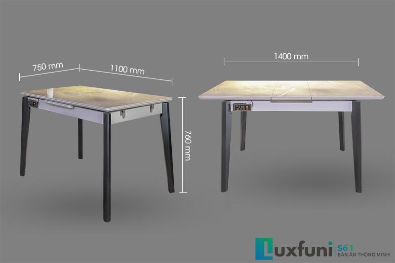 Kích thước bàn ăn thông minh T5138. Từ 1,1m mở ra được 1,4m thích hợp 6-8 người sử dụng.