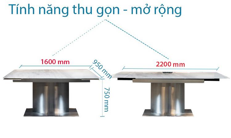 Kích thước bàn T809 thay đổi linh hoạt từ 6-8 người