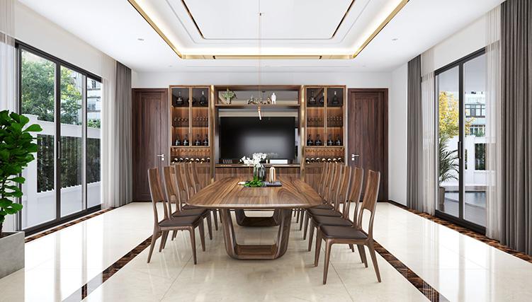 Bộ bàn ghế ăn bằng gỗ nhập khẩu cao cấp
