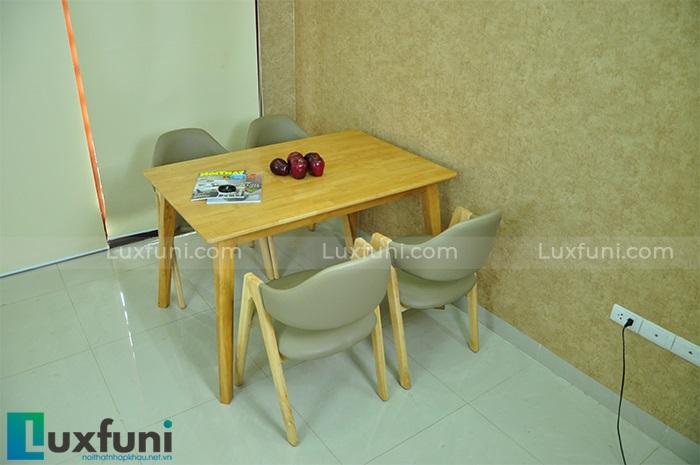 Bộ bàn ăn gỗ cao su cao cấp