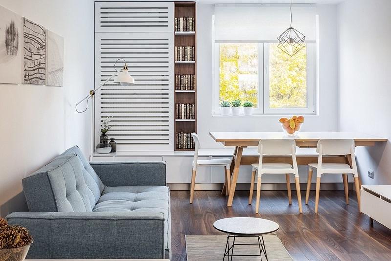 Bố trí bàn ăn ở phòng khách là cách bố trí bàn ăn hiện đại
