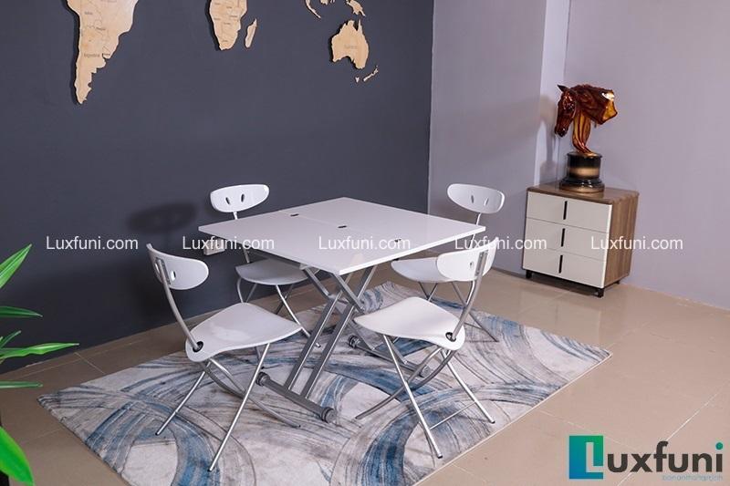 Mặt bàn là tấm gỗ MDF đã được phủ lớp sơn PU trắng sáng