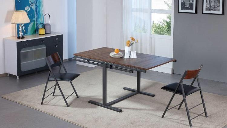Bàn ăn thông minh B2473 mặt bàn được kết hợp bởi 5 tấm gỗ MDF phủ vân veneer nối liền với nhau