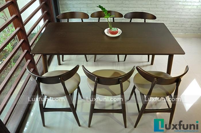 Bộ bàn ăn 6 ghế hiện đại theo phong cách Bắc u Lunar