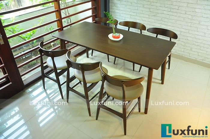 Bộ bàn ăn đẹp gỗ tự nhiên Bắc Âu Lunar