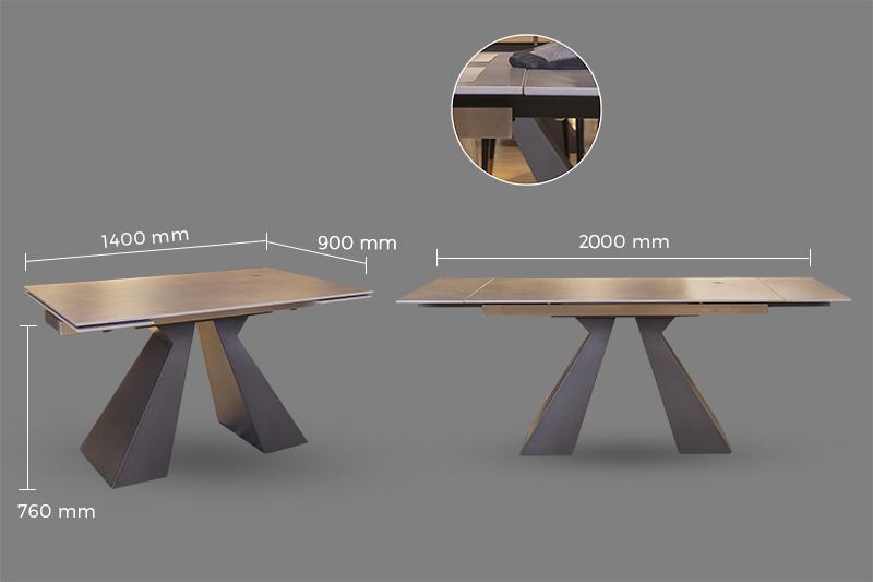 Thông số kích thước bàn ăn thông minh mặt gốm T21