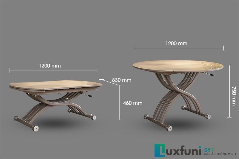 Mẫu bàn ăn B2420 cho phép nâng hạ, tùy chỉnh độ cao tùy ý