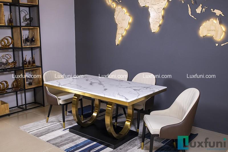 Bộ bàn ăn 4 ghế đẹp mặt đá xám trắng