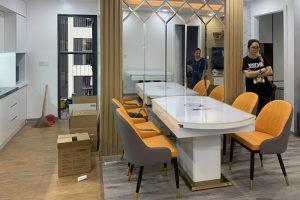 Ghế ăn D103 kết hợp bàn ăn bếp từ 855-Chị Tùng-Tòa nhà Gardenia. chung cư Hồng Hà F.CO City-1