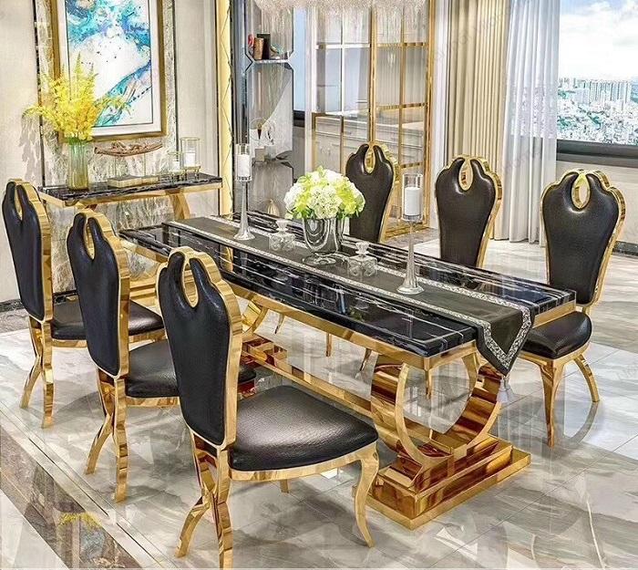 Bộ bàn ăn cao cấp bằng đá Marble đen