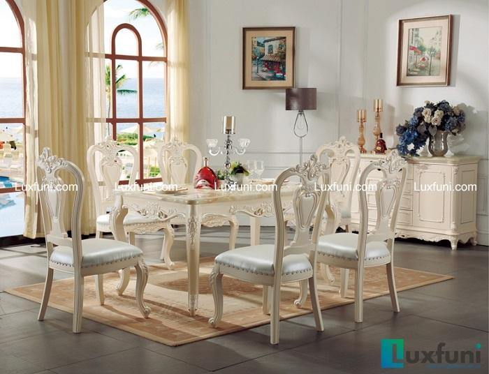 Bộ bàn ăn mặt đá tân cổ điển màu trắng kết hợp vàng nâu