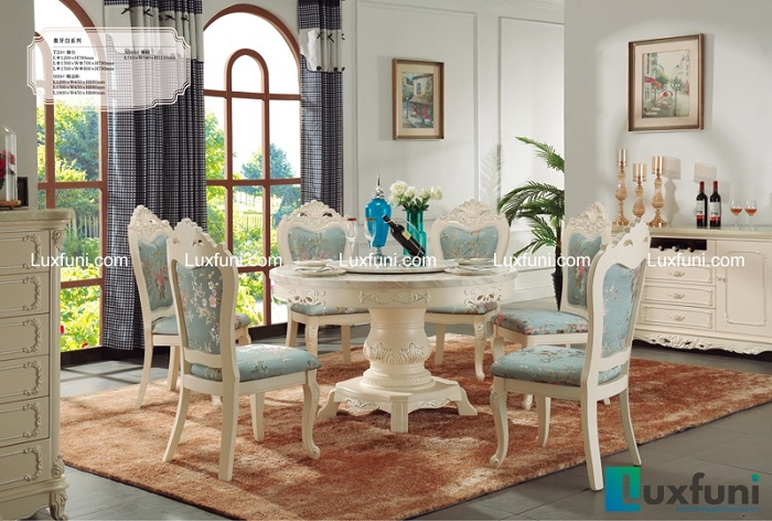 Bàn ăn mặt đá trắng kết hợp ghế xanh ngọc