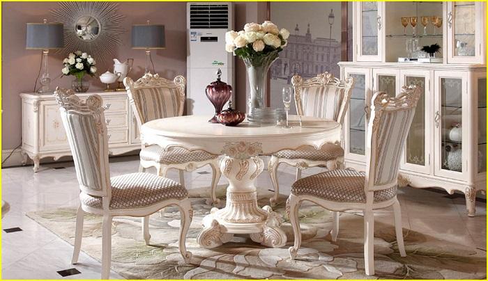 bàn ăn tròn kết hợp 4 ghế