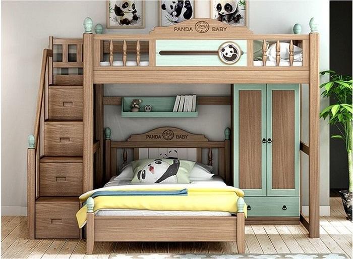 Giường tầng phối xanh nhạt và nâu gỗ
