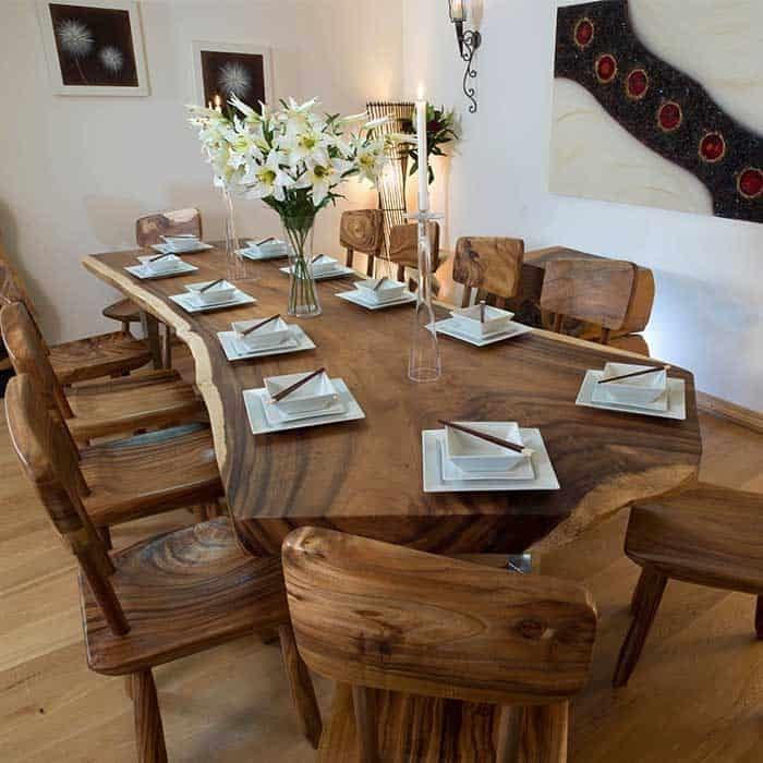 Bộ bàn ăn 12 ghế bằng gỗ
