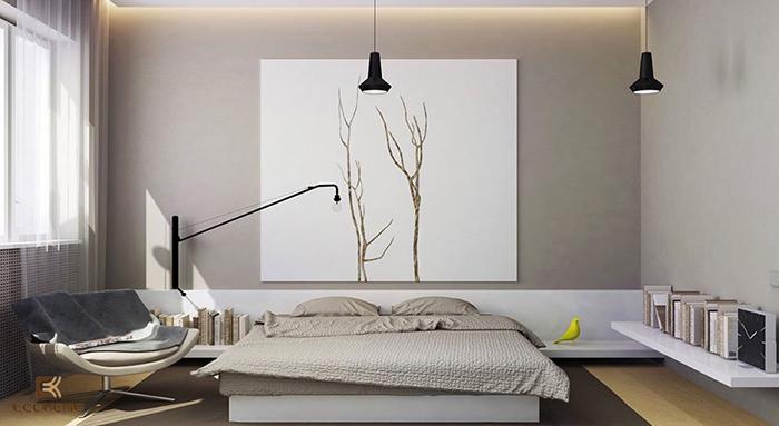 Lựa chọn màu sắc khi sắp xếp phòng ngủ phong cách tối giản
