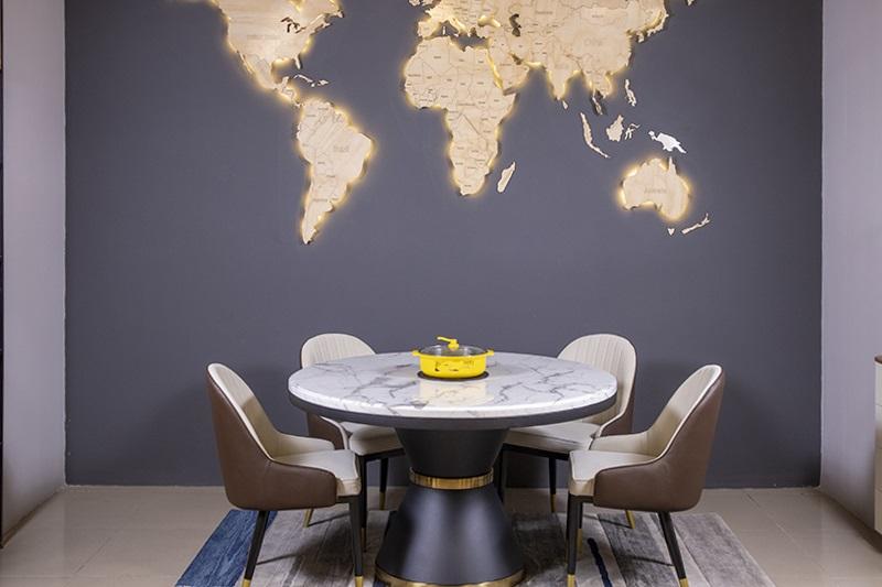 mẫu bàn ăn hiện đại mặt đá IT17