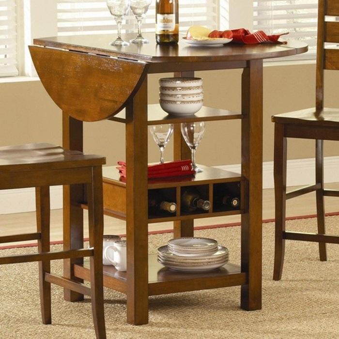 Mẫu bàn ăn tròn bằng gỗ dáng cao
