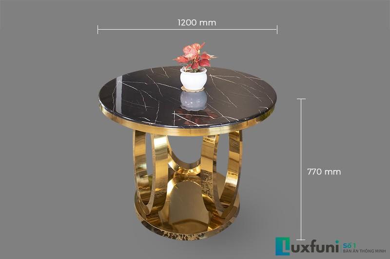 Kích thước bàn ăn tròn mặt đá 2058