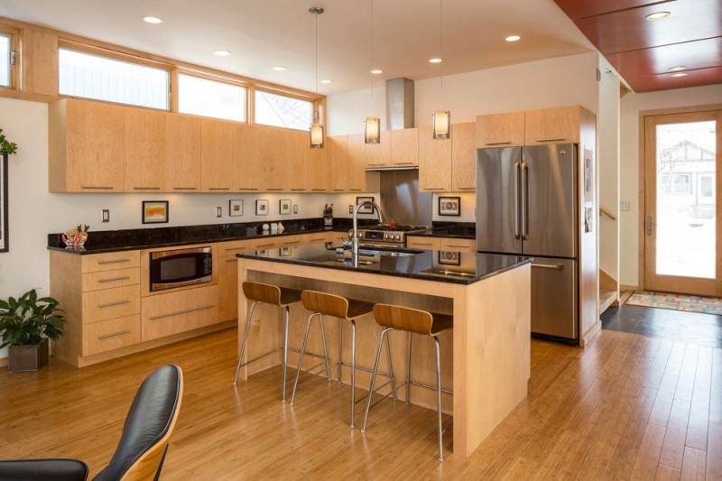 THiế kế không gian bếp chữ L đẹp chủ đạo thiết kế tone gỗ