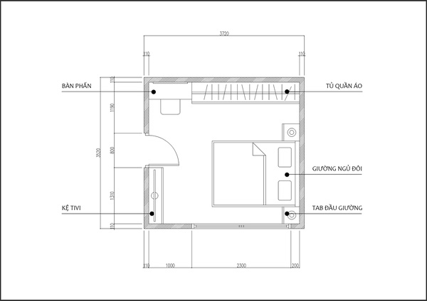 Mặt bằng bố trí nội thất phòng ngủ 10m2