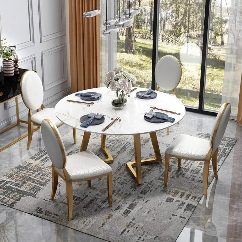 Bàn ăn 4 ghế mặt đá cẩm thạch