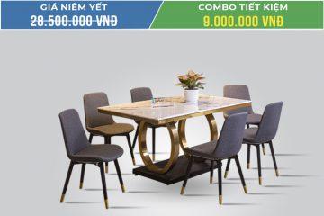 Bộ bàn ăn 6 ghế mặt đá 075#
