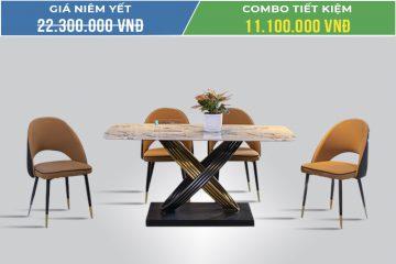 Bộ bàn ăn 4 ghế mặt đá A088.