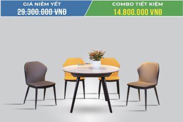 Bộ bàn ăn thông minh tròn 4 ghế T7029